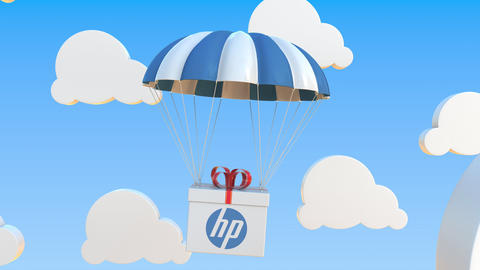 HP logo on moving Box moves under parachute. Editorial loopable 3D animation Live Action