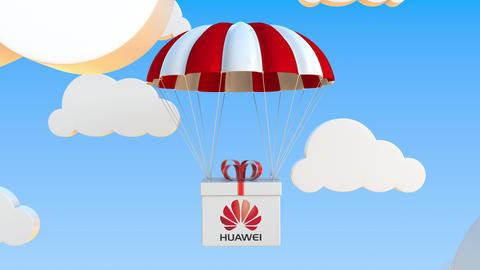 HUAWEI logo on moving box moves under parachute. Editorial loopable 3D animation Live Action