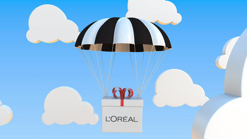L'OREAL logo on moving box moves under parachute. Editorial loopable 3D Live Action