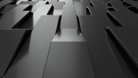 1050 3D rendering of black gloss plastic waves GIF