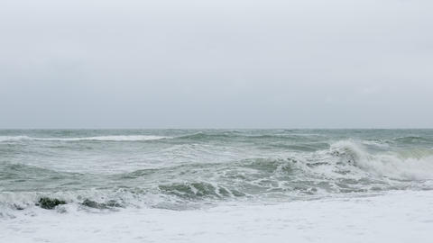 Landscape of the Sea of Japan on choppy sea day Live Action