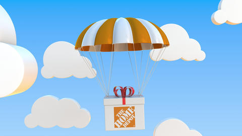 THE HOME DEPOT logo on moving Box moves under parachute. Editorial loopable 3D Live Action