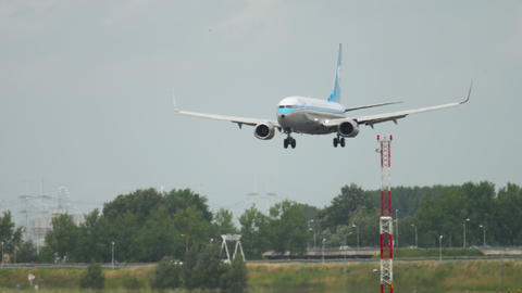 KLM retro livery Boeing 737 landing GIF