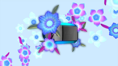 Virtual reality headset with blooming flowers Animation