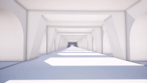 Black white corridor in modern style on soft light background. Background Live Action