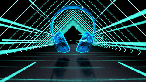 Abstract technological background of headphones Animation
