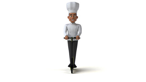 Fun chef cartoon character on a scooter Animation