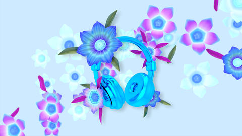 Beautiful abstract background of blooming flowers around headphones Animation