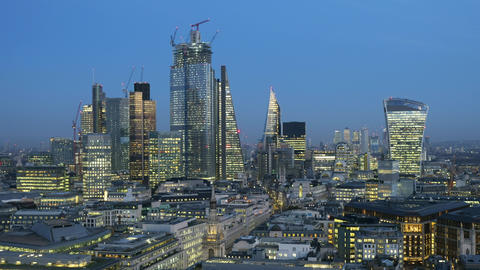 Elevated day to night time-lapse of the financial district of London England Live Action