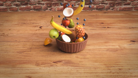 Fruits falling into a basket Animation