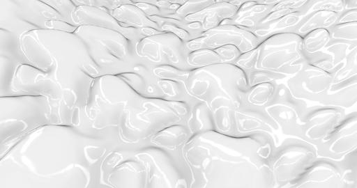 Liquid abstract white background. Smooth glossy texture 3D rendering loop 4k Animation