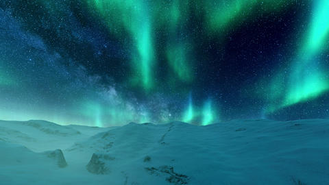 Northern Lights in starry night sky over snowy winter landscape Animation