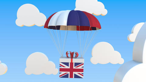 Box with national flag of Great Britain falls with a parachute. Loopable Live Action