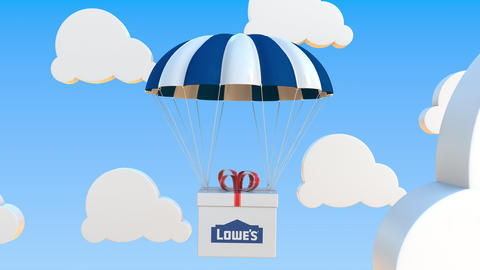 LOWE'S logo on moving box moves under parachute. Editorial loopable 3D animation Live Action