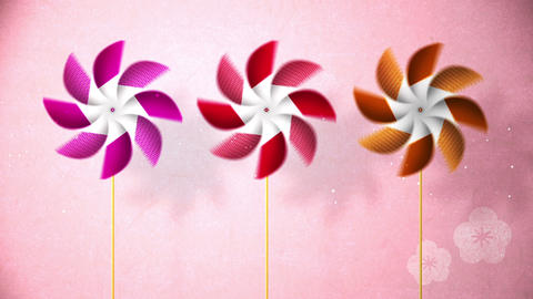 Spinning Pinwheels on pink background,Particle,CG Animation