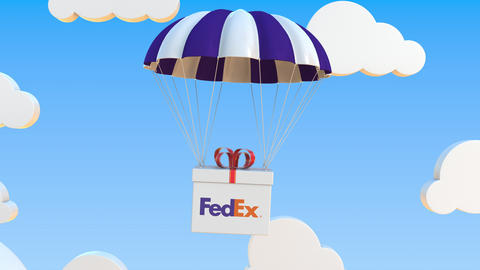 FEDEX logo on moving box moves under parachute. Editorial loopable 3D animation Live Action