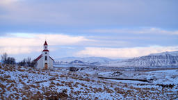 Church Timelapse in Iceland, Sky with clouds, Religion concept Live Action