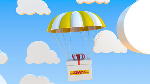 DHL logo on moving box moves under parachute. Editorial loopable 3D animation Live Action