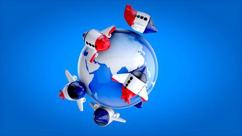 Planes around the World - 3D Animation, Stock Animation