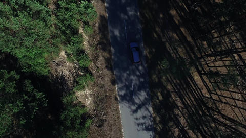 Above view car driving through forest. Drone view vehicle moving on rode Live Action