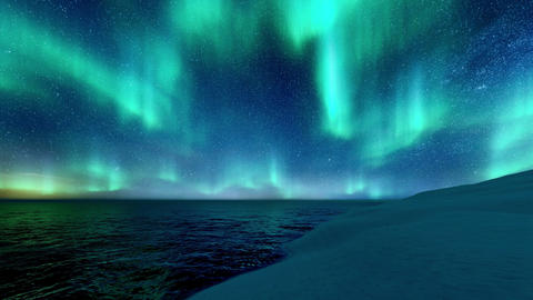 Winter landscape with Northern Lights in starry night sky Live Action