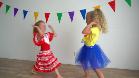 Happy active girls clap hands and laugh. Best friends children have fun together Live Action