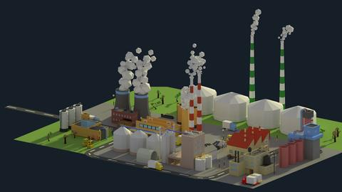 Low Poly Industrial Complex Pack 3D Model