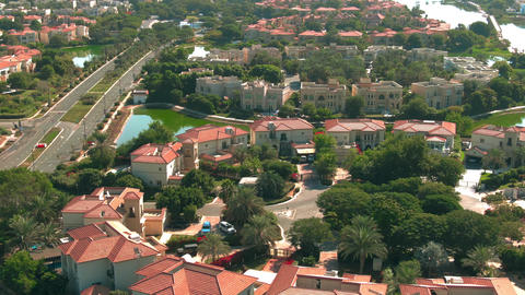 Aerial view of luxury Jumeirah Islands community villas in Dubai, United Arab Live Action