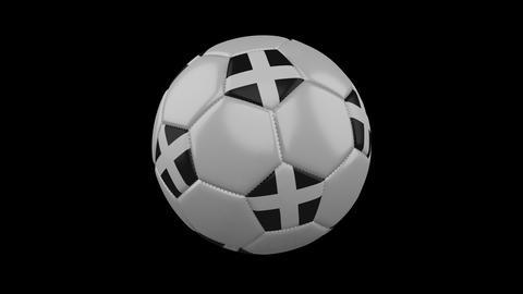 Kernow - Cornwall flag on ball rotates on alpha transparency, loop Animation