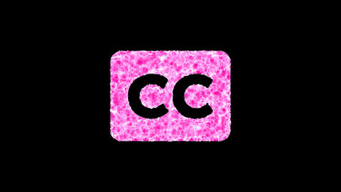 Symbol closed captioning shimmers in three colors: Purple, Green, Pink. In - Out loop. Alpha channel Animation