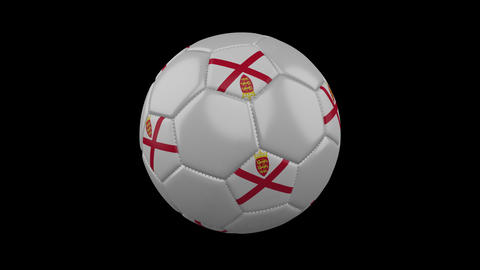Parishes of Jersey flag on ball rotates on alpha transparency, loop Animation
