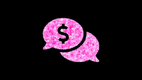 Symbol comments dollar shimmers in three colors: Purple, Green, Pink. In - Out loop. Alpha channel Animation