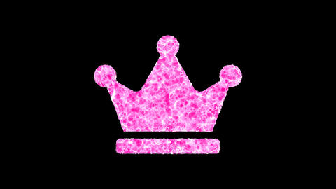 Symbol crown shimmers in three colors: Purple, Green, Pink. In - Out loop. Alpha channel Animation