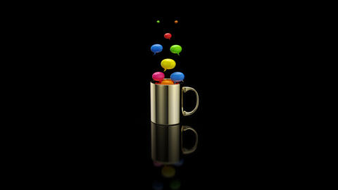 Concept of a hot cup of coffee with bubbles Animation
