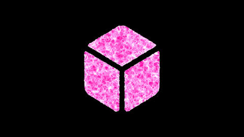 Symbol dice d6 shimmers in three colors: Purple, Green, Pink. In - Out loop. Alpha channel Animation