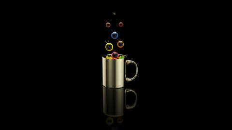 Concept of a hot cup of coffee with televisions Animation