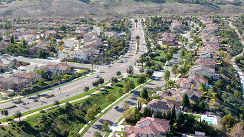 Aerial view of residential modern subdivision luxury house Live Action