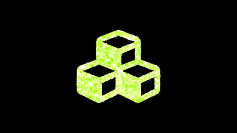Symbol cubes shimmers in three colors: Purple, Green, Pink. In - Out loop. Alpha channel Animation