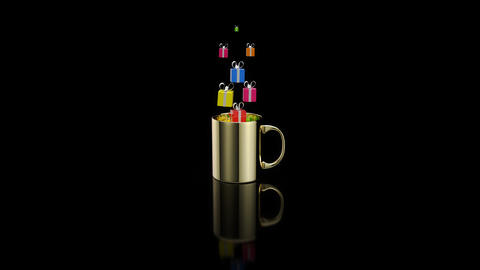 Concept of a hot cup of coffee with gifts Animation