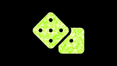 Symbol dice shimmers in three colors: Purple, Green, Pink. In - Out loop. Alpha channel Animation