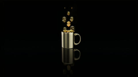 Concept of a hot cup of coffee with euros Animation