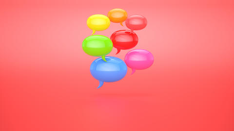 Animation of a 3D drop becoming a chat with bubbles Animation