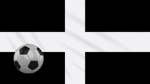 Kernow - Cornwall flag and soccer ball rotates on background of waving cloth, loop Animation