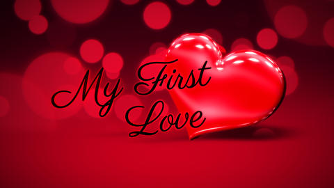 Animated closeup My First Love text and motion romantic heart on Valentine day shiny background Animation