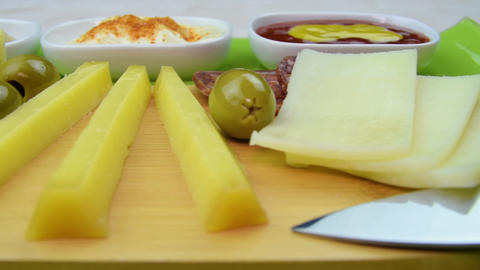 Cheese wine dips Low angle Ready for romantic snack dinner Tasty Live Action