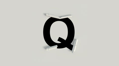 Paper Cut Roll text character Q Animation