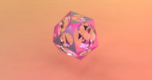 Abstract polygonal object with a glass sphere on the background of trendy colors Live Action