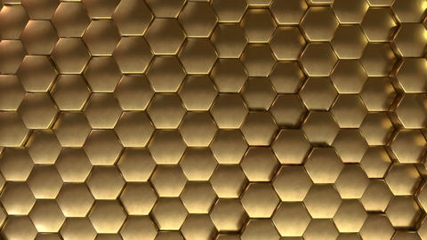 Evolving Hexagonal reflective golden tiles background loop Animation