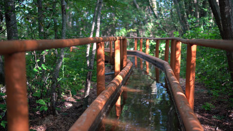 Cold water canal with railings in forest. Disease prevention healthy path Live Action