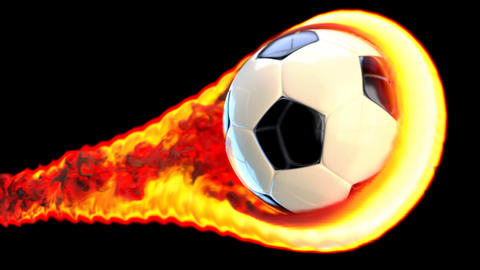 Flying soccer ball on fire on a black background Animation